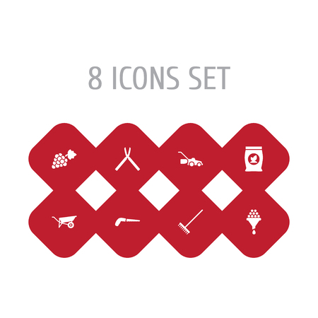 Set of 8 horticulture icons set. Collection of harrow, hand saw, fertilizer elements. Çizim
