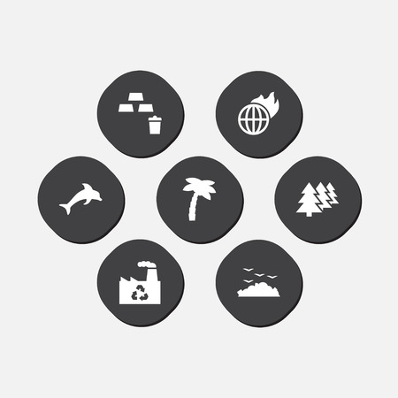 Set of 7 bio icons set. Collection of garbage, recycling plant, dolphin and other elements.
