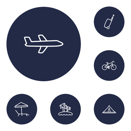 Set of 6 relax icons line style set. Collection of plane, island, tent elements.