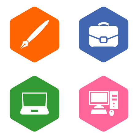 Set of 4 bureau icons set. Collection of ink, laptop, portfolio and other elements.