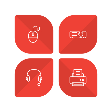 Set of 4 notebook icons line style set. Collection of show, control device, headset and other elements.