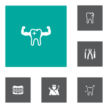 Set of 6 teeth icons set. Collection of healthy, dentist, equipments and other elements. Ilustração