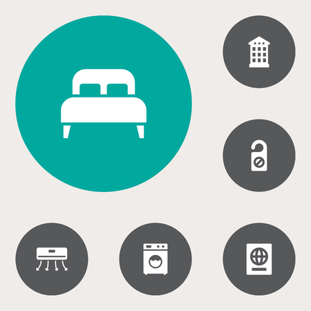 Set of 6 motel icons set. Collection of passport, air conditioning, laundromat and other elements.