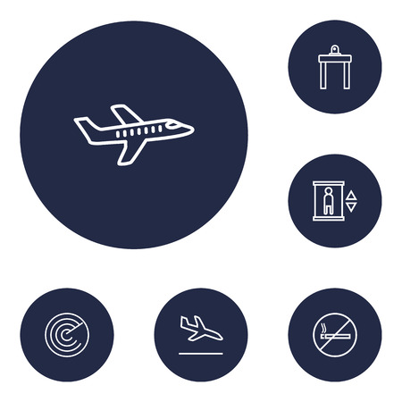 Set of 6 aircraft icons line style set. Collection of aicraft, radar, lift and other elements.