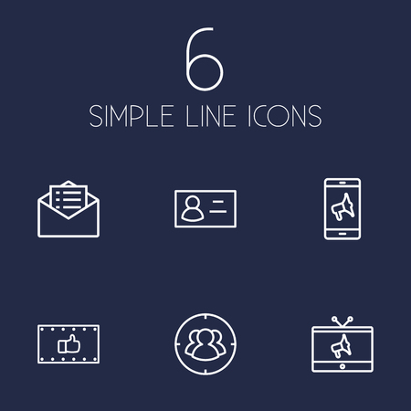 Set of 6 trade icons line style set. Collection of application, message, group and other elements.
