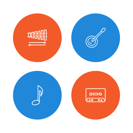 Set of 4 music icons line style set. Collection of cassette, xylophone, note and other elements.