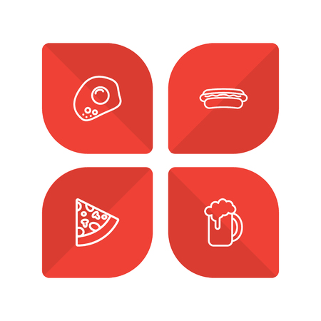 Set of 4 eat icons line style set. Collection of ale, eggs, sausage and other elements.