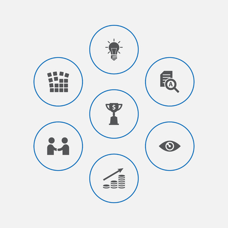 Set of 7 strategy icons set. Collection of idea, achievement, eye and other elements.
