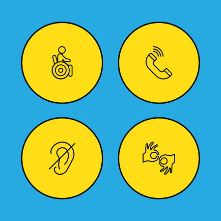 Set of 4 accessibility icons line style set. Collection of deafness, sign language, volume control and other elements.