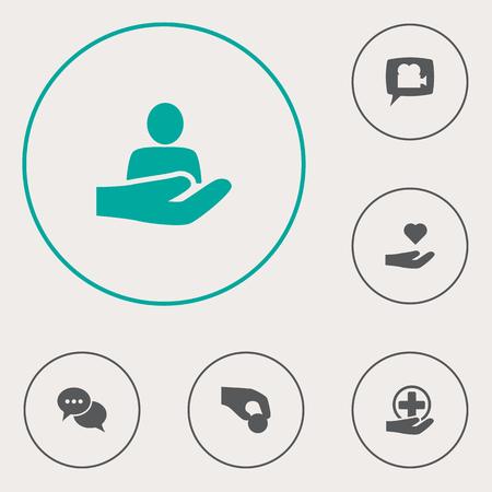 Set of 6 maintenance icons set. Collection of charity, video chat, medical and other elements.