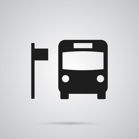 Isolated bus stop icon symbol on clean background. Vector transportation element in trendy style. Illustration