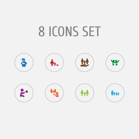 Set of 8 relatives icons set. Collection of happy, people, playing and other elements.