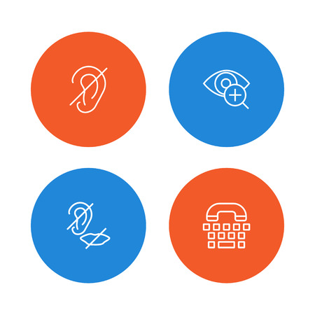 Set of 4 disabled icons line style set. Collection of low vision, deaf, deafness and other elements.
