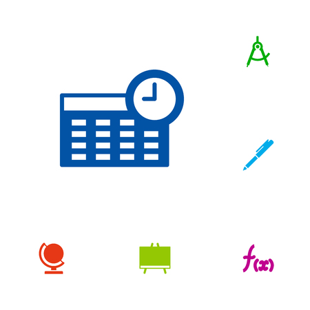 Set of 6 knowledge icons set. Collection of dividers measurement, mathematics, pen and other elements.