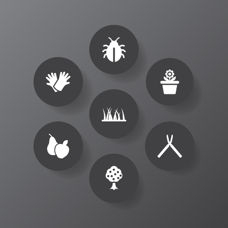 Set of 7 household icons set. Collection of fruit tree, plant pot, weed and other elements.