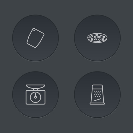 Set of 4 cooking icons line style set. Collection of pizzeria, kitchen rasp, cutting surface and other elements.