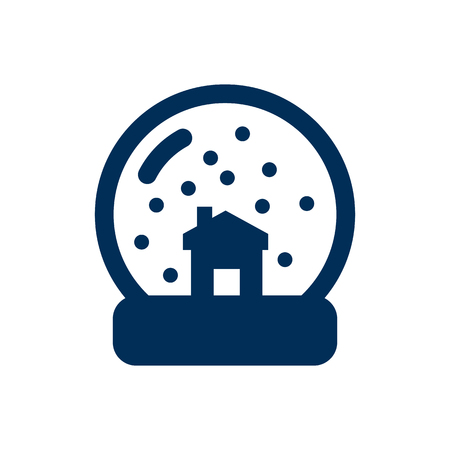 Isolated snow globe icon symbol on clean background. Vector magic sphere element in trendy style.