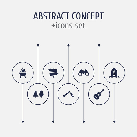 Set of 7 camping icons set. Collection of guidepost, grill, binoculars and other elements. Illustration
