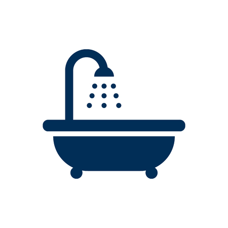 Isolated bathtub icon symbol on clean background. Vector bathroom element in trendy style.