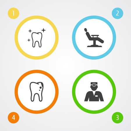 Set of 4 teeth icons set. Collection of hygiene, chair, caries and other elements.