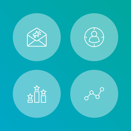 Set of 4 engine icons line style set. Collection of mail, ranking, monitoring and other elements.