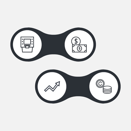 Set of 4 finance icons line style set. Collection of graph, cash, money and other elements. Illustration