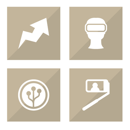 Set of 4 trendy icons set. Collection of trend, selfie, crypt currency and other elements.