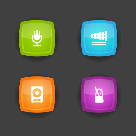 Set of 4 melody icons set. Collection of speaker, metronome, xylophone and other elements. Foto de archivo