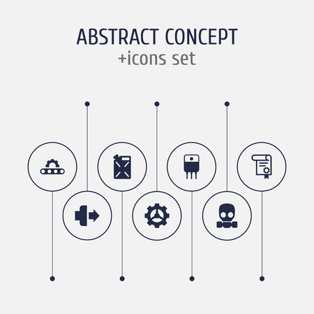 Set of 7 industry icons set. Collection of gas mask, fuel canister, jog forward and other elements. Illustration