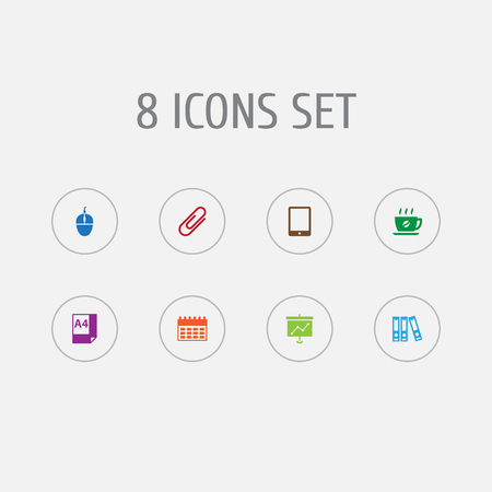 Set of 8 bureau icons set. Collection of hot drink, document case, tablet and other elements.