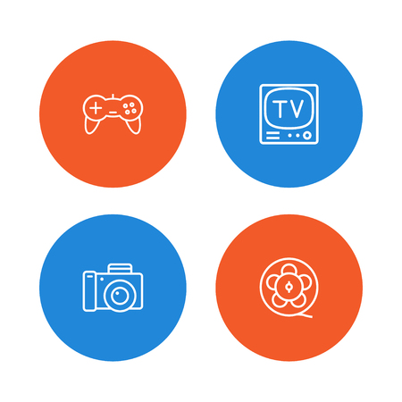 Set of 4 entertainment icons line style set. Collection of joystick, photography, filmstrip and other elements.