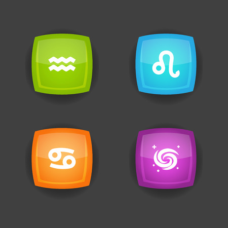 Set of 4 horoscope icons set. Collection of leo, aquarius, galaxy and other elements.