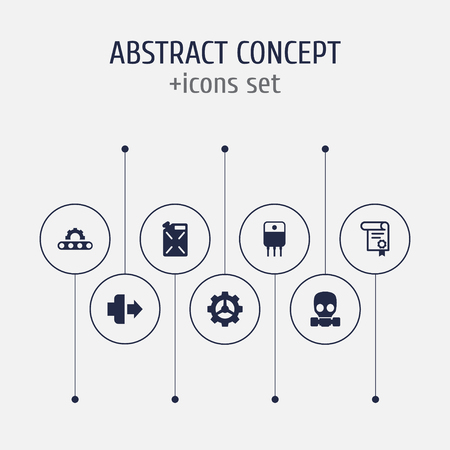 Set of 7 industrial icons set. Collection of gas mask, fuel canister, jog forward and other elements.