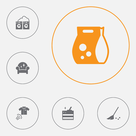 Set of 6 cleaning icons set. Collection of carpet, clothes steaming, detergent and other elements.