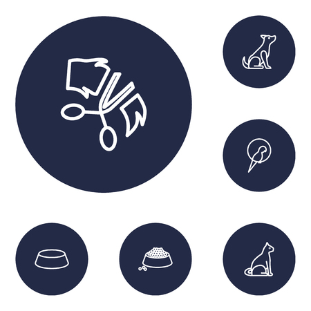 Set of 6 pets icons line style set. Collection of food, sitting, dish and other elements. Banque d'images