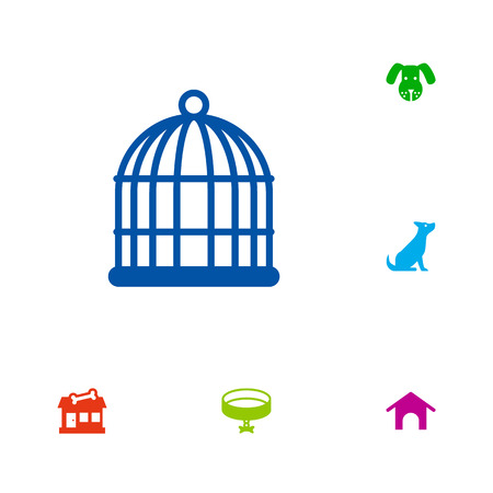 Set of 6 animals icons set. Collection of kennel, bird prison, dog and other elements. Illustration