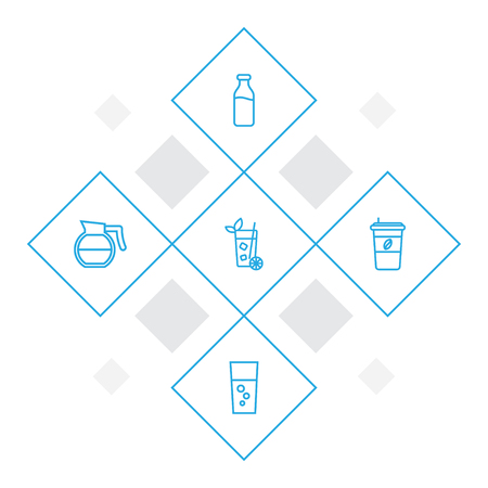 Set of 5 beverages icons line style set. Collection of lemonade, teapot, milk glass and other elements.