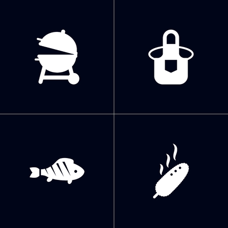Set of 4 picnic icons set. Collection of corn, barbecue, apron and other elements. Illustration