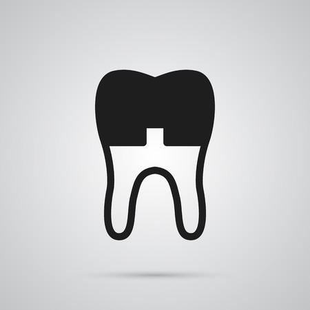 Isolated alumina icon symbol on clean background.  dental crown element in trendy style.