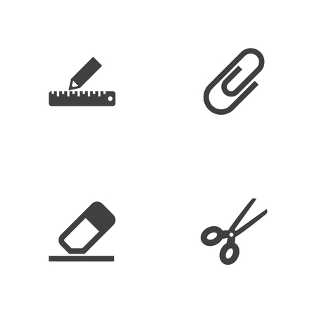 Set of 4 stationery icons set. Collection of paper clamp, eraser, ruler and other elements.