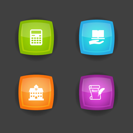 Set of 4 education icons set. Collection of calculator, history, school and other elements.