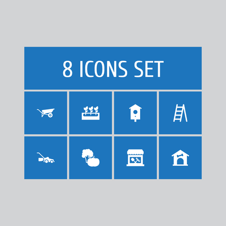 Set of 8 household icons set. Collection of barrow, birdhouse, grass-cutter and other elements. Illustration