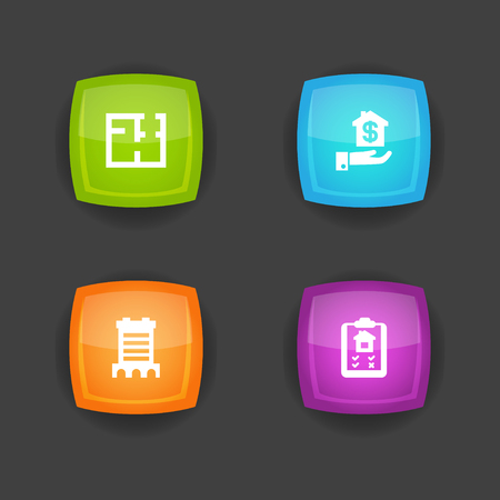 Set of 4 real icons set. Collection of clipboard, mortgage, blueprint and other elements.
