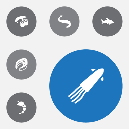 Set of 6 food icons set. Collection of fish, steak, eel and other elements.