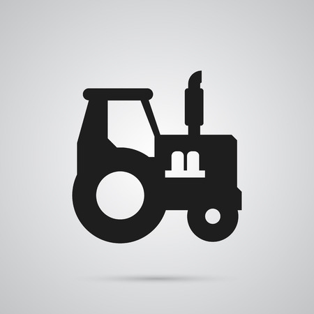 Isolated tractor icon symbol on clean background. Vector farm vehicle element in trendy style.