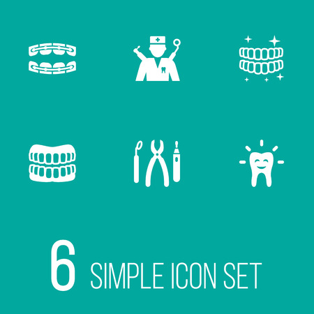 Set of 6 dental icons set. Collection of brace, equipments, denture and other elements. Illustration