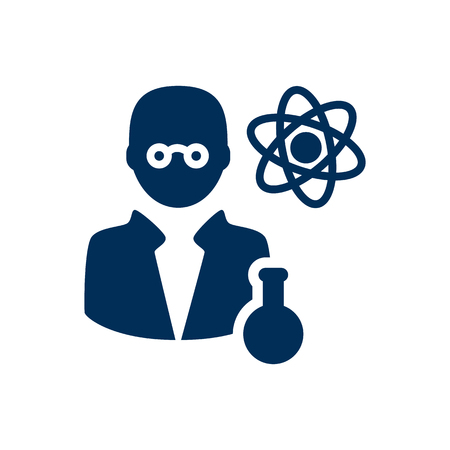Isolated scientist icon symbol on clean background. Vector scholarly element in trendy style. Illustration