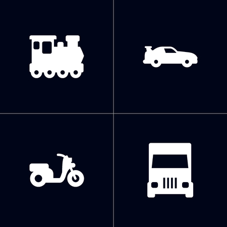 Set of 4 transport icons set. Collection of train, lorry, moped and other elements.