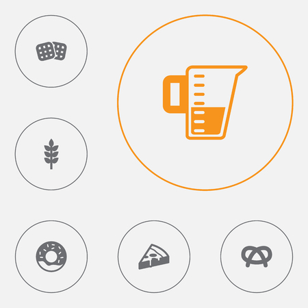 Set of 6 food icons set. Collection of waffle, donuts, wheat and other elements. Illustration