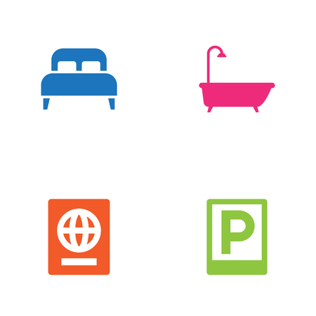 Set of 4 motel icons set. Collection of passport, double bed, bathroom and other elements. Illustration